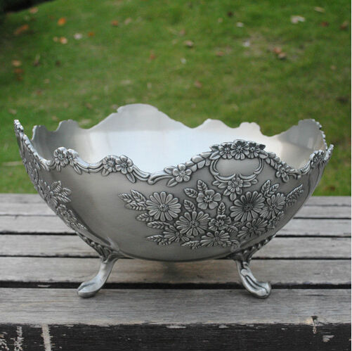 30cm vintage round metal fruit bowl serving tray plate home holiday with 3 stand base floral