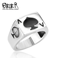 New Arrival 316L Stainless Steel Man S Fashion Jewelry Lucky A Playing Card Ring Retro Personality