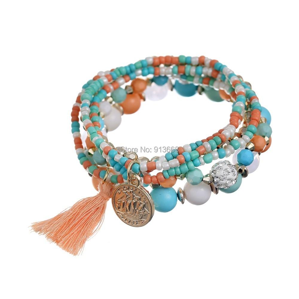 Fashion Brand Multilayer Seed Beads Tassel Clover Bracelets & Bangles  Strand Stretch Friendship Bracelets Pack For