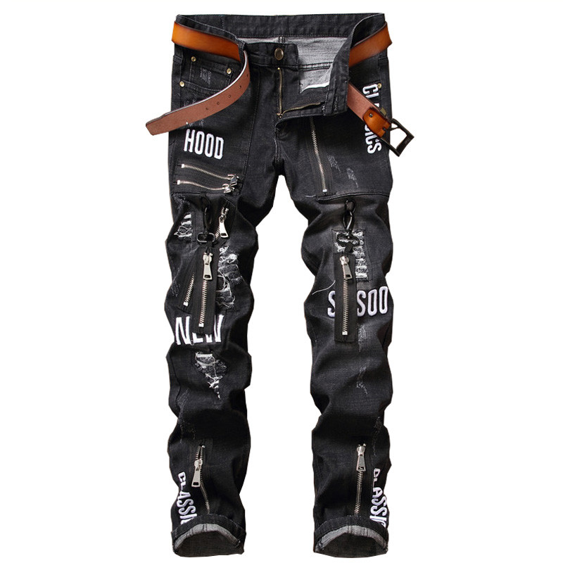 Black Embroidery Biker Men Jeans Ripped Slim Fit Hip Hop Zipper Denim Trousers Mens Jeans High Quality Motorcycle Punk Pants mens casual elastic ripped drape denim hip hop slim fit distressed biker jeans pants black straight pencil trousers multi zipper