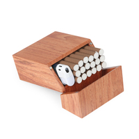Cigarette Box Wood with Rosewood and Cherry wood & Bambook Cigarette Case New Creative Clamshell|Cigarette Accessories| |  -