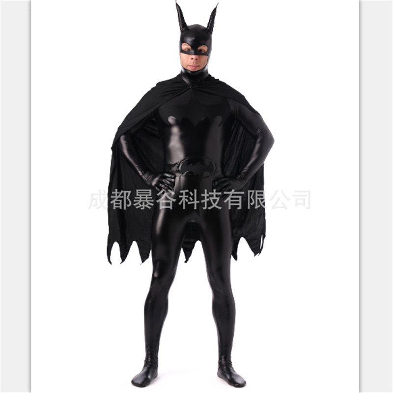 high quality Black Superman Glue Zentai Suits Full Body One Piece Cosplay Bodysuit Latex Pvc Tights Super hero Costume Halloween