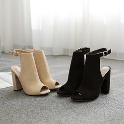 Замшевые туфли с открытым носком, женские сандалии на высоком каблуке с пряжкой, модные открытые шлепанцы, туфли-лодочки на массивном