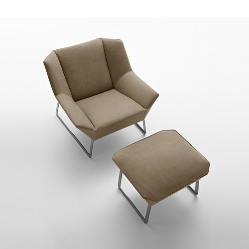 Nordic IKEA Living Room Lounge Sofa Chair Single Composition Leather Lounge Chair  Ottoman Fabric Designer Chair