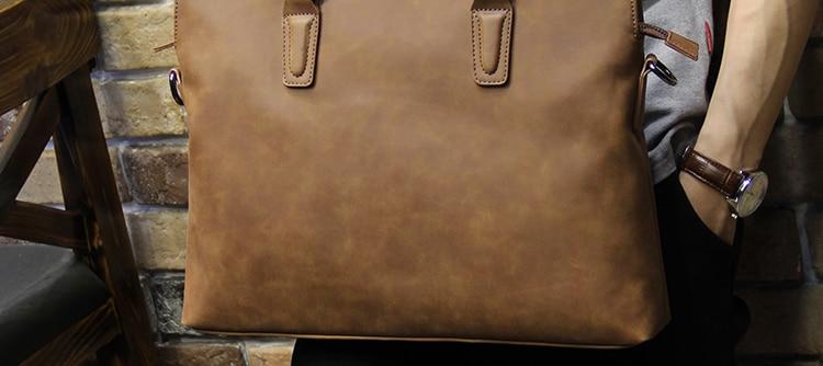 HTB1ePkyjqmgSKJjSsplq6yICpXaC Brand Crazy horse pu leather men bags vintage business leather briefcase men's Briefcase men travel bags tote laptop bag man bag