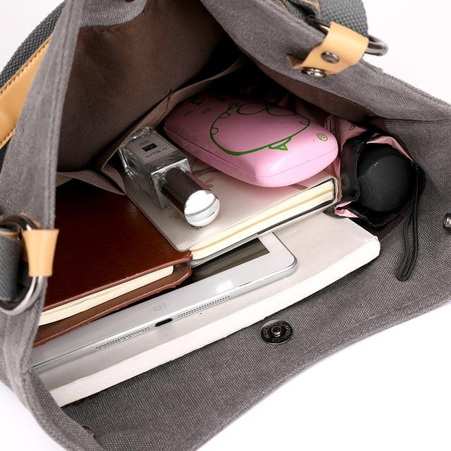 Women Fashion Casual canvas Tote Handbag Multifunctional Female Bag High Quality Shoulder Bag 3