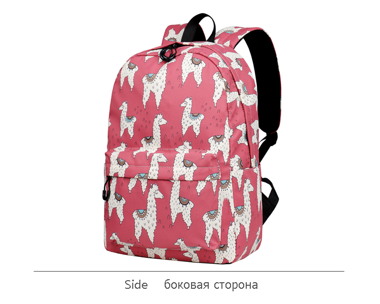 WINNER Backpack Cute Alpaca Print School Backpack Teenager Girls Water Repellent Fabric Laptop Bags Travel Mochila 2019 (7)