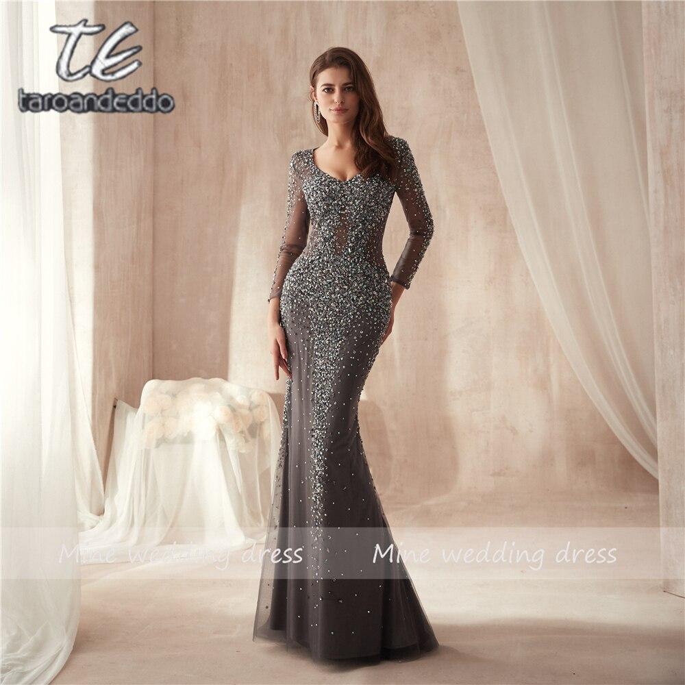 V-cou Lourd Perles Voir À Travers Manches Longues Bling Bling Gaine robe de bal Cristaux Gris Long Tulle Sheer robe de soirée