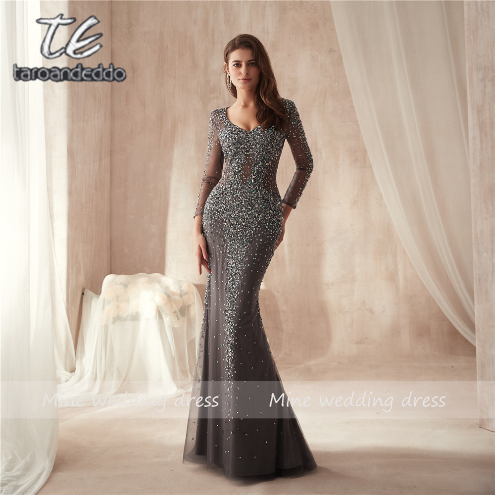 V-neck Heavy Beading See Through Long Sleeves Bling Bling Sheath   Prom     Dress   Crystals Grey Long Tulle Sheer Evening Gowns