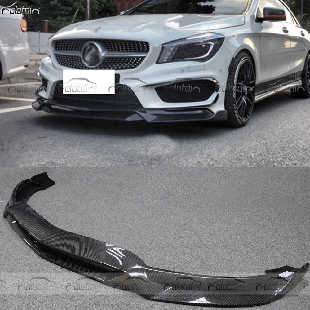 R1 Style pour Mercedes Benz W117 CLA AMG CLA45 Voiture Style Fiber De Carbone Avant Lip Pare-chocs