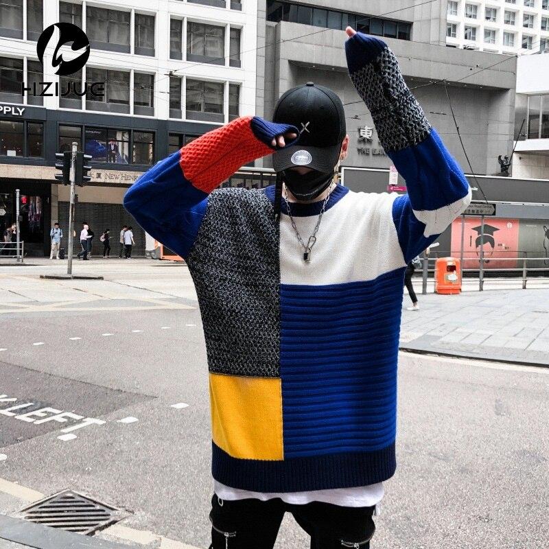 Plaid tricoté pull chandails hommes 2018 Hip Hop décontracté Harajuku mâle chandail mode à manches longues Streetwear