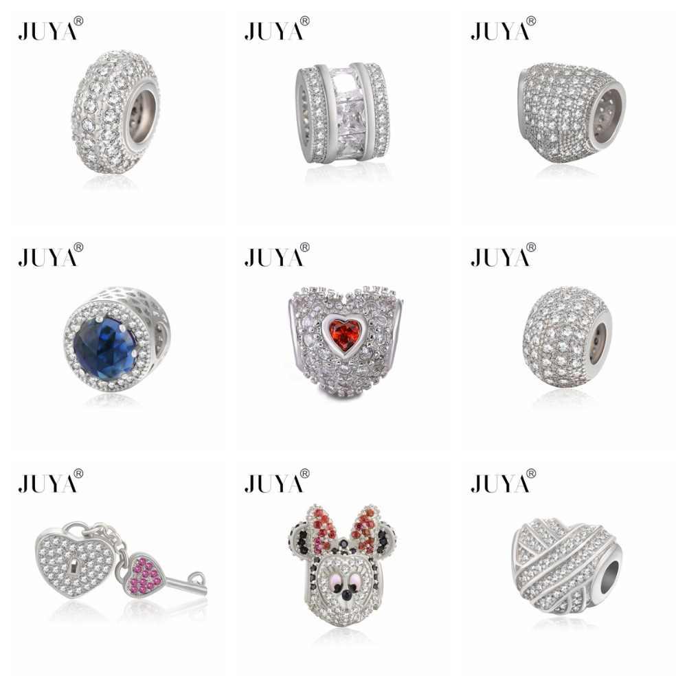 Authentic 100% Prata AAA Zirconia Moda Encantos Do Coração Beads Fit Pandor Original Talão Pulseira Para As Mulheres Charme Jóias DIY