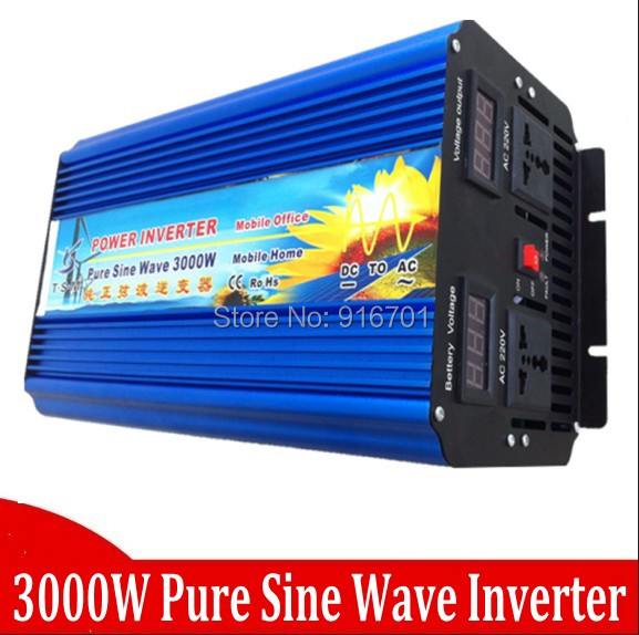 цена на 3000W Pure Sinus Inverter 12 Volt to 220 Volt 3000VA Off Grid Pure Sine Wave Inverter