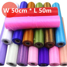 50cm*50meters Wedding Table Runner Decoration Yarn Roll Crystal Tulle Organza Sheer Gauze Element Casamento Favors Supplies