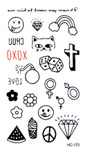 10PCS Men And Women 1 Lot Sexy Chest Water Transfer Tattoo Decals Waterproof Temporary Tattoo Stickers Letters Gun Body Art Fake