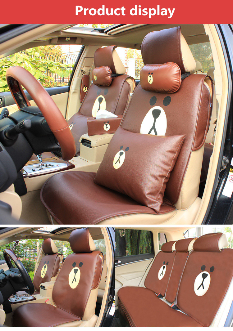 Cartoon Brown Duck Leather Car Seat Cover Interior Seats Cushion