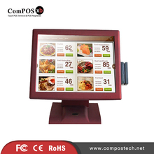 Beautiful cool appearance RED color 15 inch TFT restitive touch screen system /POS terminal for nigh club