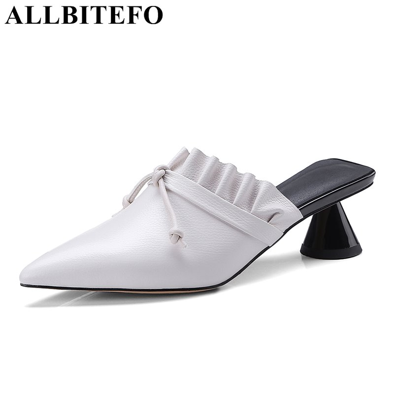 ALLBITEFO genuine leather pointed toe thick heel women sandals high heels fashion ruffles women shoes office ladies shoes donna in 2018 women genuine leather slipper platform high heels sandals ladies shoes thick heel casual slippers fashion styles