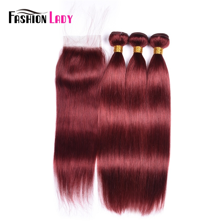 Fashion Lady Pre Colored Brazilian 3 Bundles With Closure Red Color