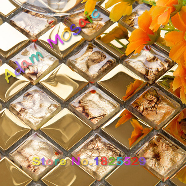 Oro espejo de oro azulejos de mosaico backsplash de la cocina ...