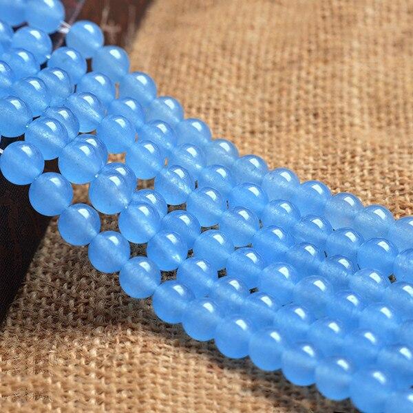 Cielo azul calcedonia cuentas 6 8 10 12mm perlas capítulo cadena de ...
