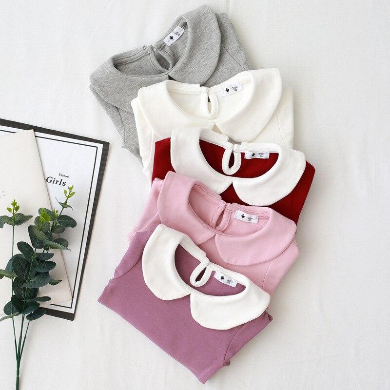 Baby Girls T shirt Peter pan Collar Bottoming Shirts Cotton Girl Tops Tees Children's Clothes Girls Blouse BC381