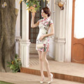 Summer New Chinese Women's Satin Cheongsam Sexy Mini Flower Qipao Summer Short Sleeve Dress Robe De Soiree S M L XL XXL LGD39