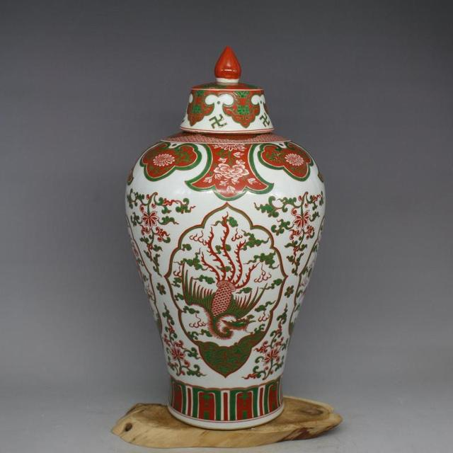 Old Chinese Porcelain Vasemeiping Collection Adornmentred And