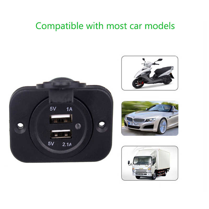 DIY Modification Car Charger Motorcycle Dual USB Charger  5V 3.1A Cigarette Lighter Socket Power Adapter Outlet Charger 12V-24V