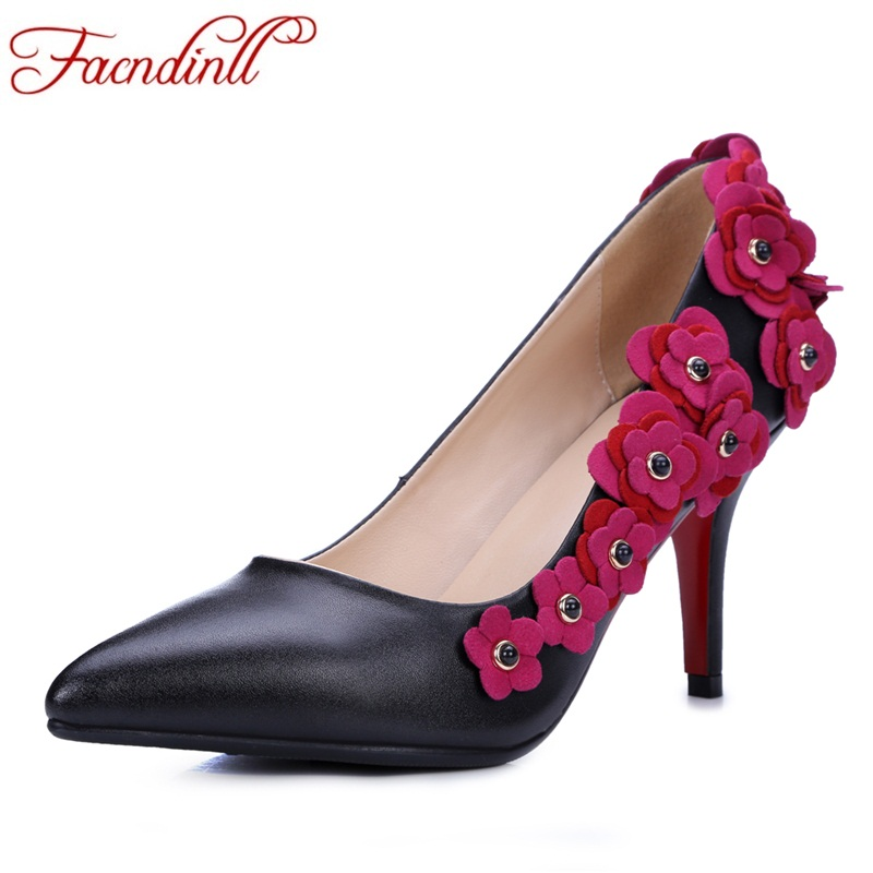 FACNDINLL 2018 women pumps new design genuine leather flowers dress shoes sexy high heels bride shoes women party wedding shoes facndinll genuine leather sandals for