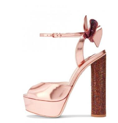 2019 summer womens shoes Rose Gold Shoes Peep Toe Metallic Ankle Strap Block Heel Prom Sandals2019 summer womens shoes Rose Gold Shoes Peep Toe Metallic Ankle Strap Block Heel Prom Sandals
