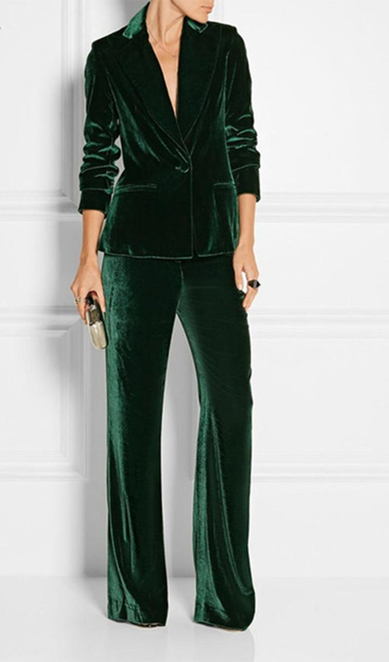 Green suits green velvet  working suit for women office