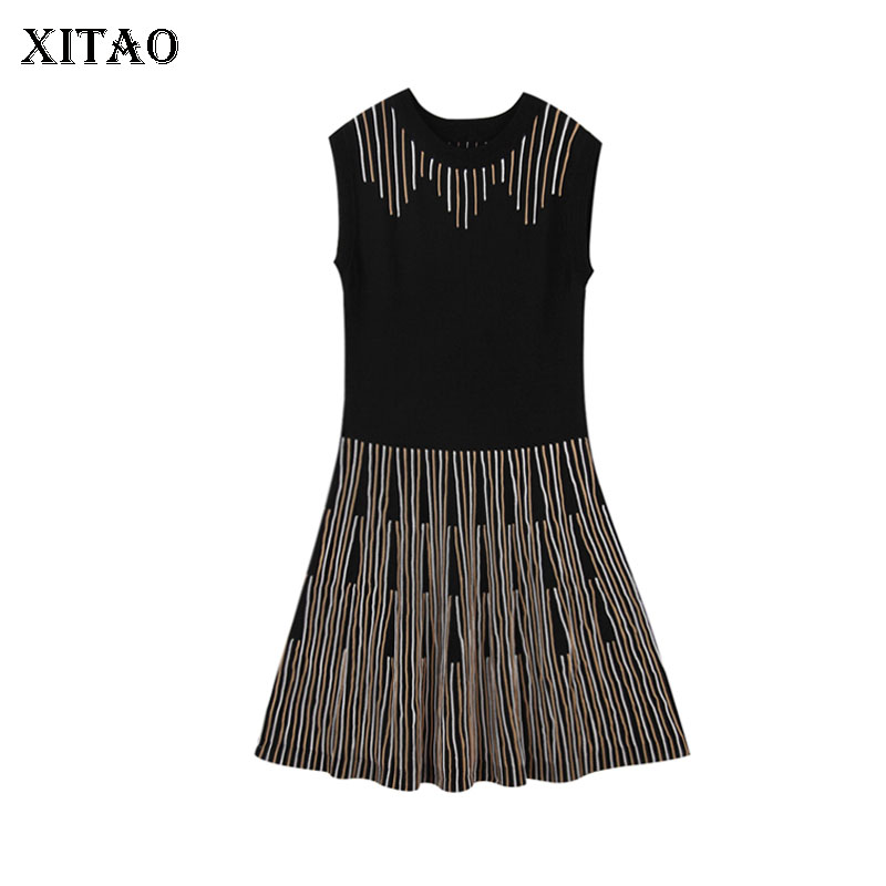 [XITAO] 2018 New Spring Europe Fashion Women Striped Knitted A-Line Dress Female Sleeveless O-Neck Above Knee Dress LJT1615 2016 women s clothing fashion in europe and the atmosphere bohemia elasticity knitted cultivate one s morality dress