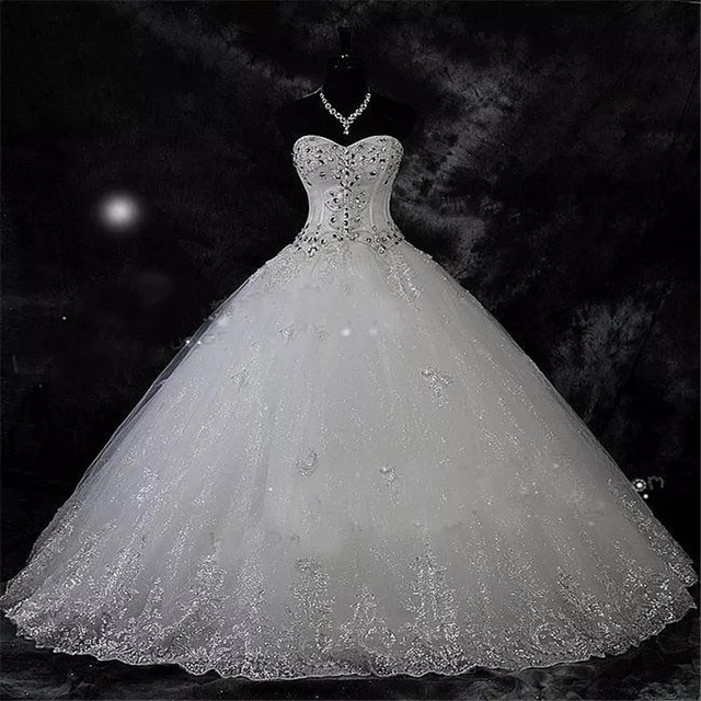 QQ Lover 2019  New Ball Gown Lace Wedding Dresses Shiny Beading Wedding Gowns Bride Dress