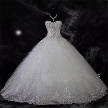 QQ Lover 2019 New Ball Gown Lace Wedding Dresses Shiny Beadi