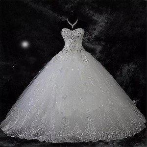 Image 1 - QQ Lover 2020  New Ball Gown Lace Wedding Dresses Shiny Beading Wedding Gowns Bride Dress