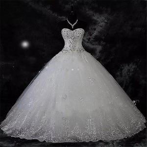 Image 1 - Qq lover 2020 novo vestido de baile rendas vestidos de casamento brilhante beading vestidos de casamento vestido de noiva