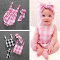 Baby girl summer clothes baby rompers 2016 new sleeveless grid 12-24 months jumpsuit newborn children
