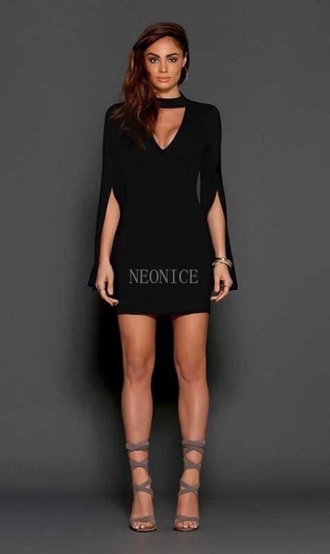 Discothèque Hanche Loisirs Robe Stretch Sexy D'anniversaire 2017 V Manches Serré Fête Nouveau Col De Bandage Noir Dames Corne Mode SpUMGqzV