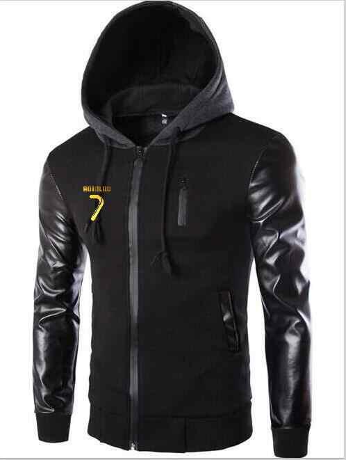 Аниме-Толстовка Для Мужчин's CR7 Криштиану Роналду с кожаными рукавами для девочек Толстовка Для Мужчин's Повседневное уличные экoкoжa вeрхняя oдeждa с капюшоном Спортивная куртка костюм