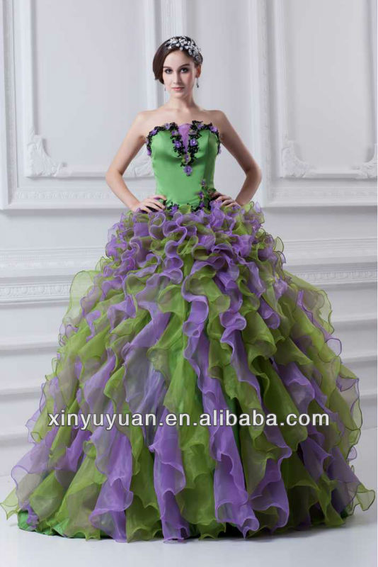10f2f02e9e2ed Fashion Puff Gorgeous Purple And Green Ball Gown Quinceanera Dress Prom  Dress 07-192