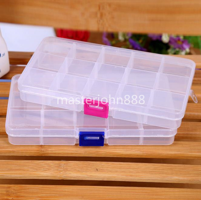 Large Clear Transparent Plastic Case Guitar Picks Box Case Picks Holder 15 Girds Storage Container Free Shipping Wholesales