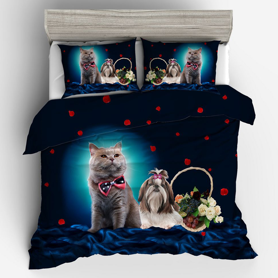 Animals Cat Dog 3d Bedding Set Queen Size His And Hers