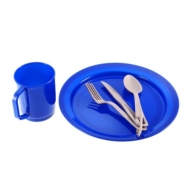 Outdoor 6 Pcs Tableware Set Ultralight Camping Cookware Tableware Set Cutlery Plate Bowl Mug Fork Spoon Cutter Hiking Picnic
