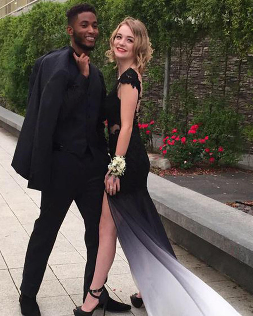f308a1ed9c Mermaid Cap Sleeve Open Back Black And Ivory Gradient Prom Dress 2016 With  Side Slit Long Ombre Prom Dress TP-0532016