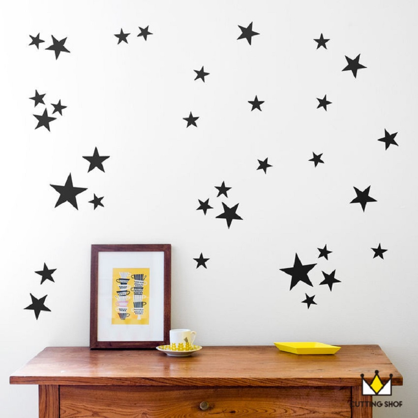 110pcs 5/4/2.5cm 3size mix Star pattern cute Wall decal film for kids Easy Removable Waterproof ECO material for kids room decor