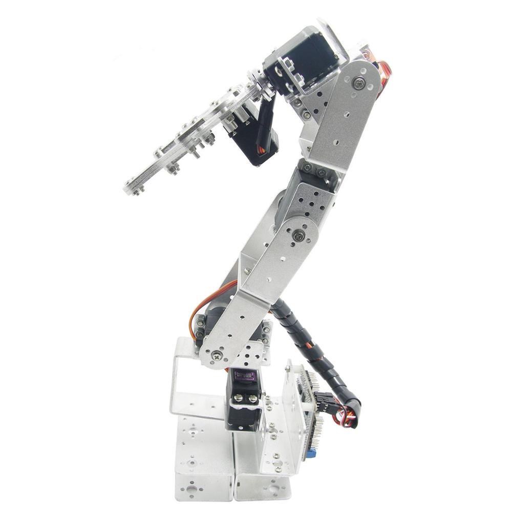 Arduino Robot 6 DOF Mechanical Robotic Arm & Servos & Metal Servo Horn-Silver with 6 x MG996R Servo 2 dof robot arm parts servo turntable base frame mg995 servo 2 gimbal robotic arm base for arduin0