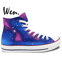 Wen Men Women's Hand Painted Sneakers Original Design Custom Purple Blue Galaxy High Top Canvas Sneakers for Gifts