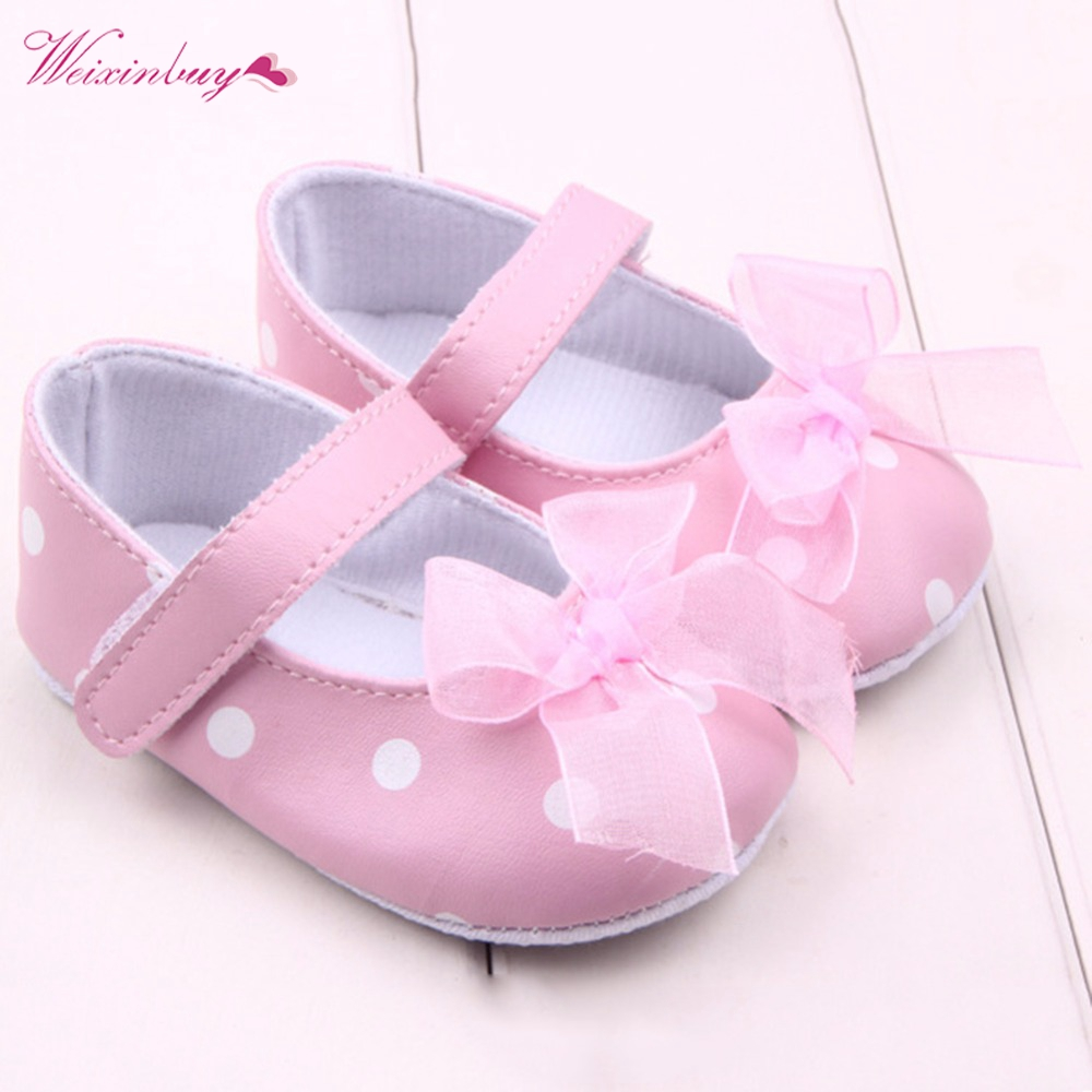 Newborns Baby Girl Infants Leather Soft  Tulle Bowknot Strappy Shoes Slip-on Prewalkers