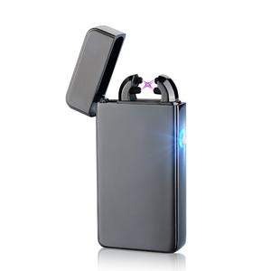 Metal Windproof Cigarette Lighter Electric Pulse Double Arc Lighter Electric Plasma USB Charging Cigar Smoking Lighter Man Gift